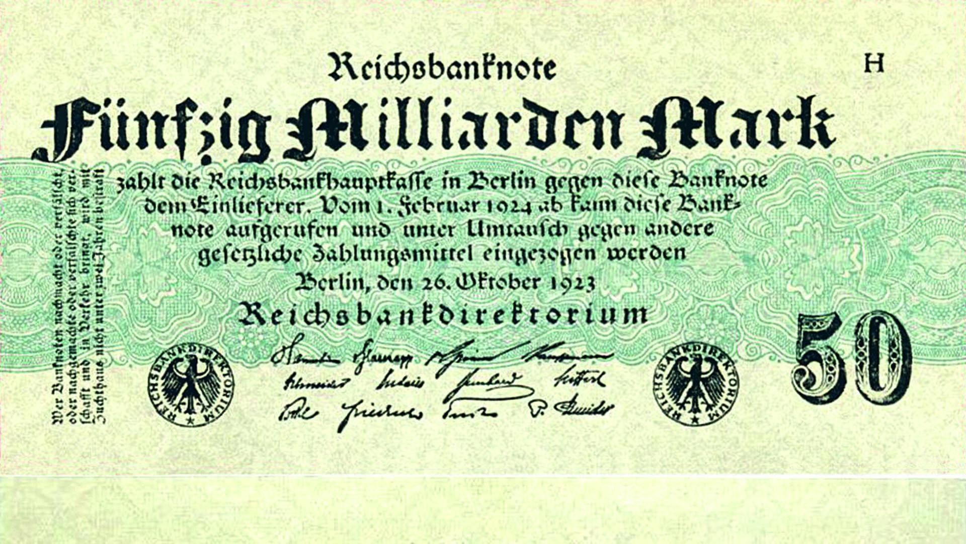 Foto: Gemeinfrei/Deutsche Reichsbank, [50 Milliarden Mark 1923-10-26]( https://commons.wikimedia.org/wiki/File:50_Milliarden_Mark_1923-10-26.jpg), via Wikimedia Commons