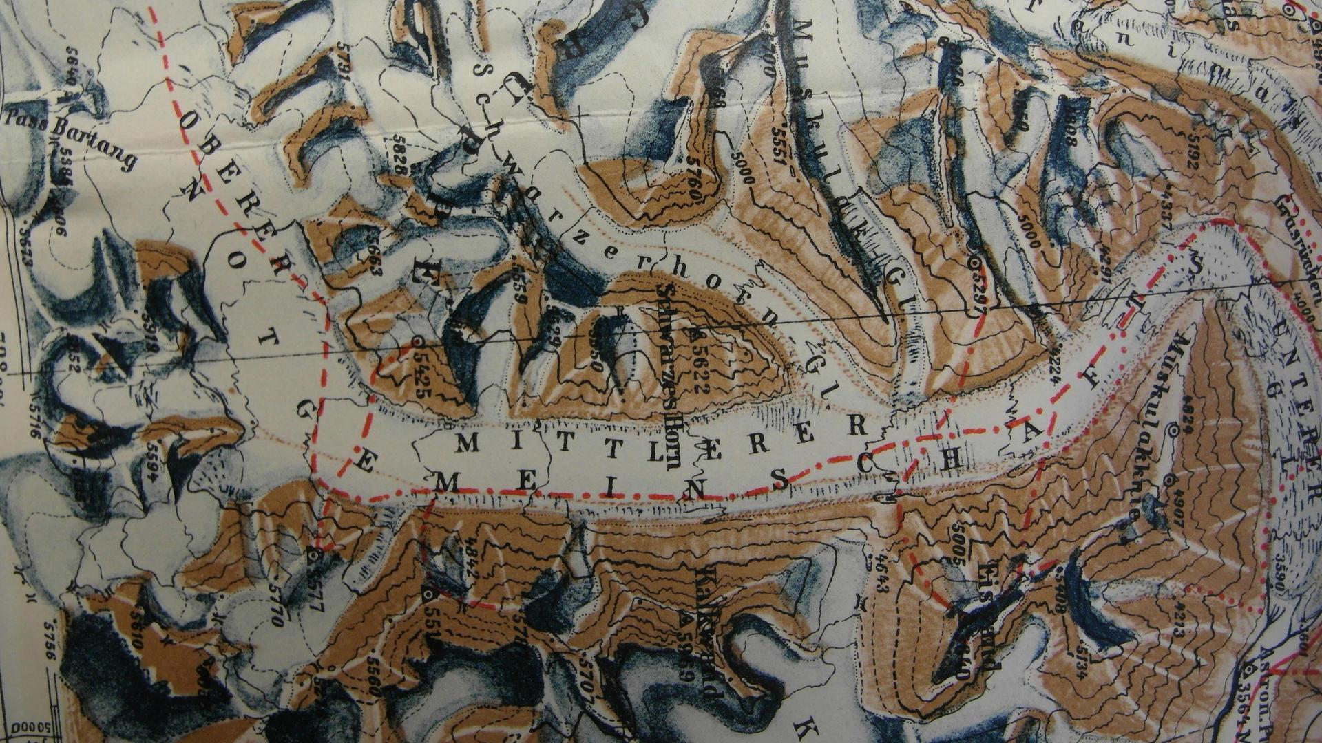 Karte des Notgemeinschaftsgletscher (Foto: aus Wissenschaftliche Ergebnisse der Alai-Pamir-Expedition 1928 im Auftrage der Notgemeinschaft der Deutschen Wissenschaft, 1932)
